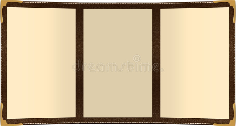 TriFold Menu. A three page leather menu isolated on white stock illustration