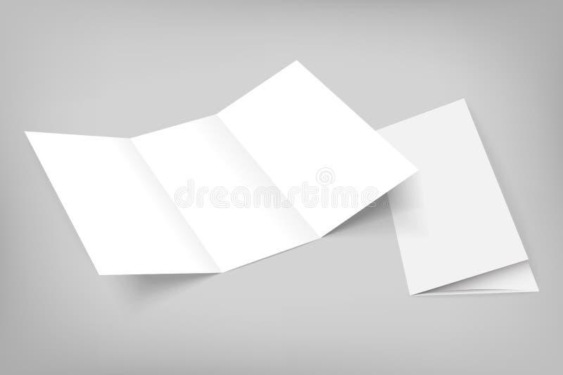 Trifold modell för tom vektor på grå färger vektor illustrationer