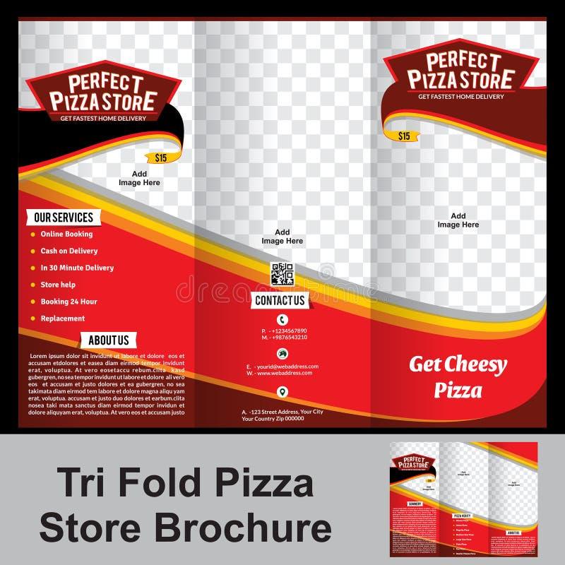 Trifold pizza sklepu broszurka ilustracji