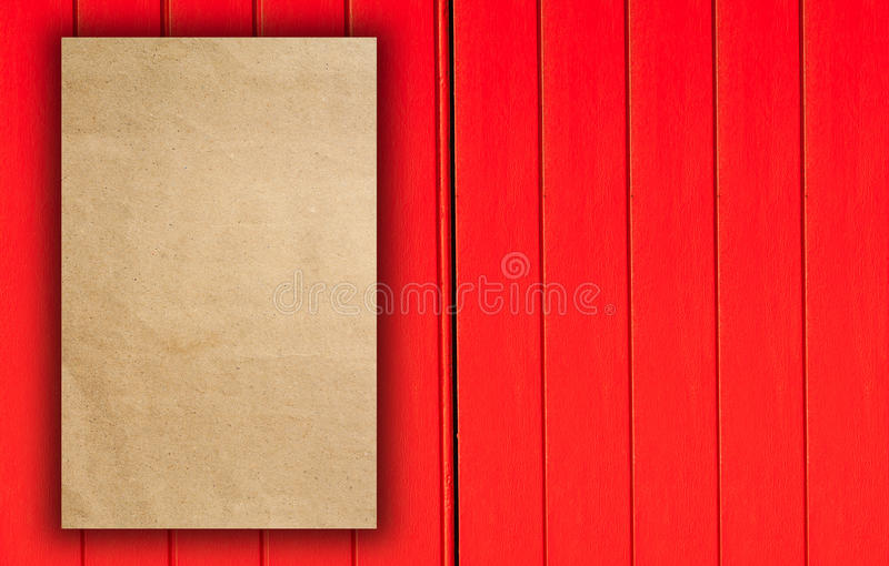 Trifold red template paper on wood texture royalty free stock photo