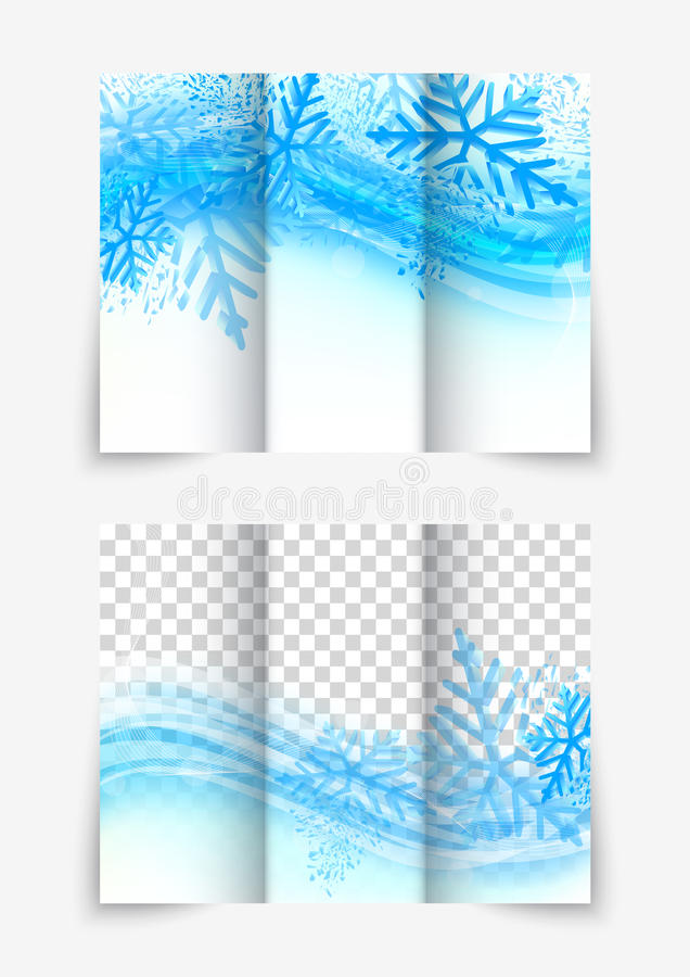 Trifold snowflake brochure. Trifold snowflake christmas winter blue brochure design for new year flyer vector illustration