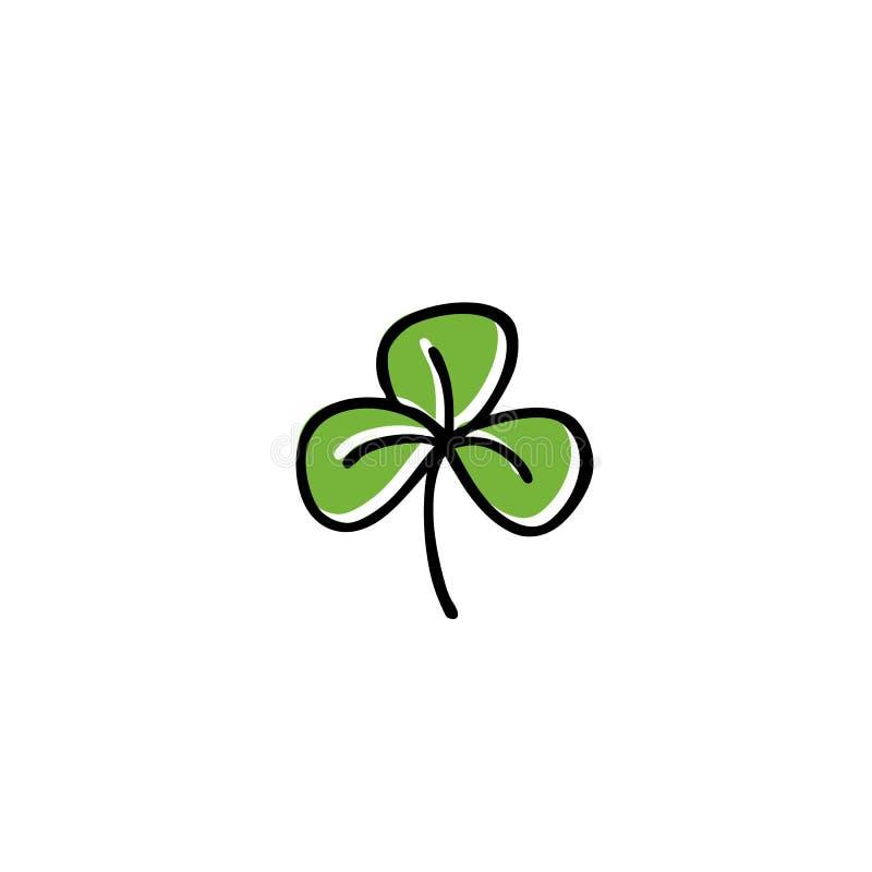 Trifoliate значок doodle клевера иллюстрация вектора