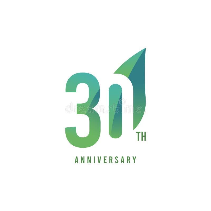 trig?simo aniversario Logo Vector Template Design Illustration stock de ilustración