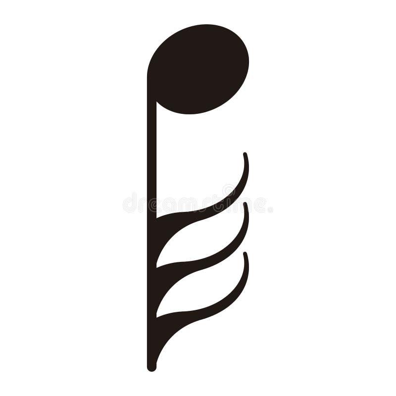 Trigésimo segunda nota aislada Nota musical stock de ilustración