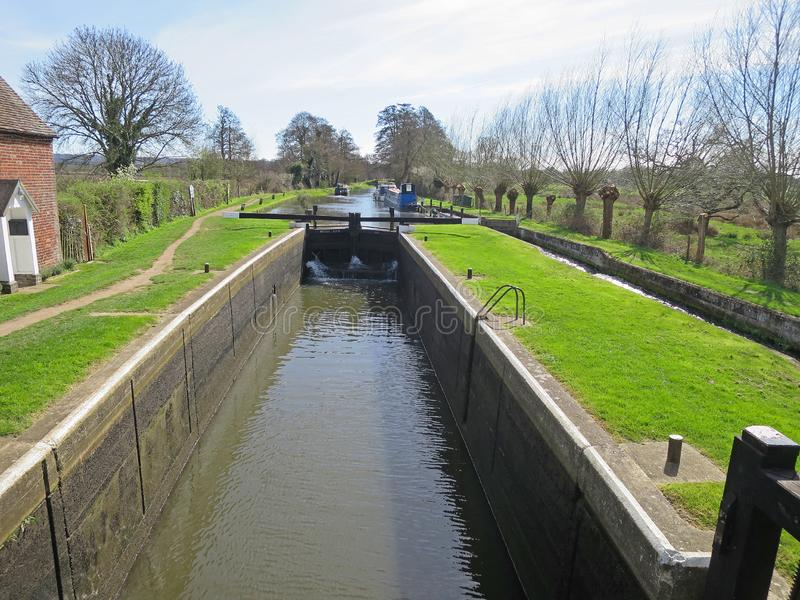 Triggs Lock. On the River Wey Navigation near Woking, Surrey, England stock images