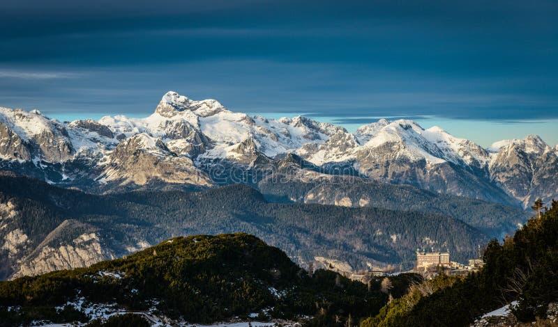 Triglav. Vogel Ski Resort above Lake Bohinj . Triglav National Park, Julian Alps, Slovenia, Europe royalty free stock images