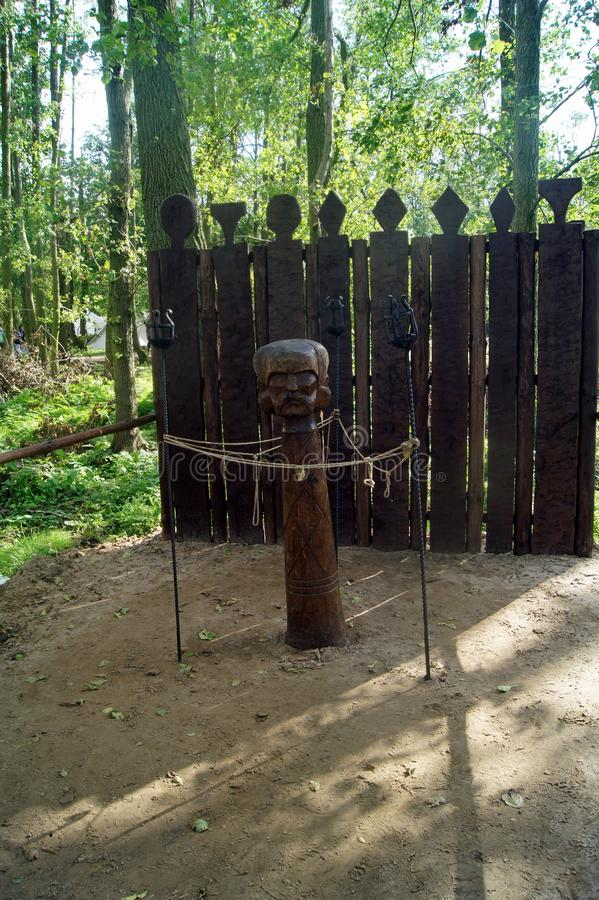 Poland: Biskupin Triglav, Slavic god. Biskupin ancient slavic wooden village, Poland,-Triglav ancient slavic God.Triglav was probably some combination of beliefs royalty free stock photos