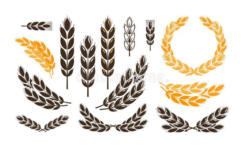 Trigo da orelha, logotipo do pão ou etiqueta Colheita, padaria, ícones ajustados da padaria Ilustração do vetor ilustração stock