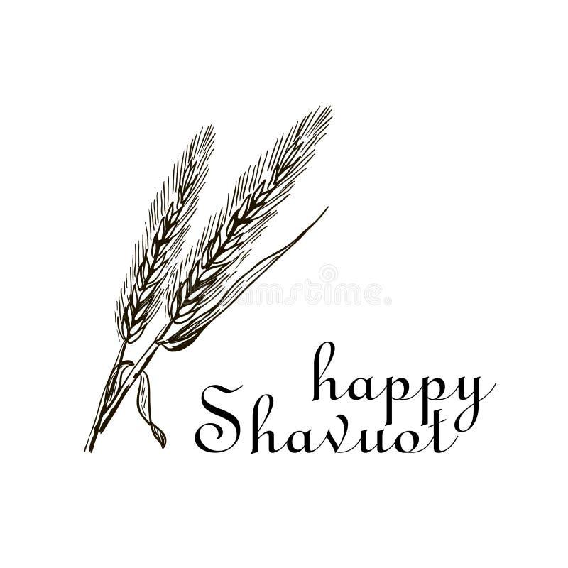 Trigo e dez mandamentos Conceito do feriado judaico Shavuot Shavuot feliz no Jerusalém Terra da colheita do trigo de Israel ilustração stock