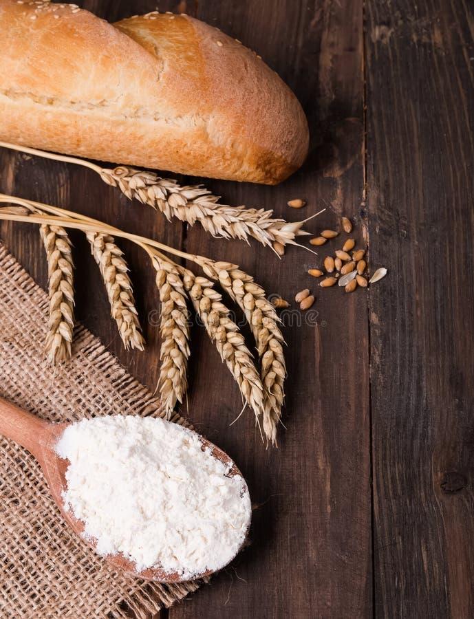 Trigo, farinha e pão foto de stock royalty free