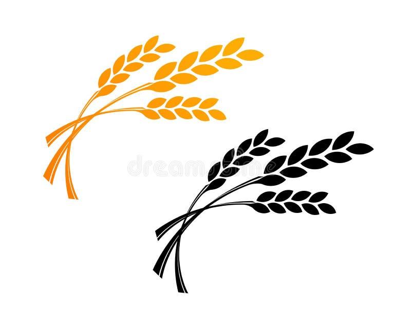 Trigo Logo Template da agricultura Projeto do ícone do vetor em dourado e em preto ilustração royalty free