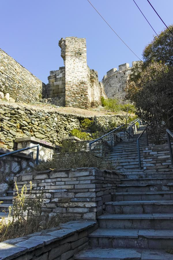 Trigonion Alysis Tower at Ancient Fortification in Thessaloniki, Greece stock photo