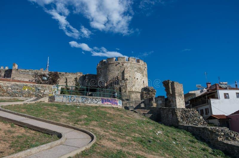 Trigonioutoren, een deel van het vestingwerk van Thessaloniki, Gree stock afbeeldingen