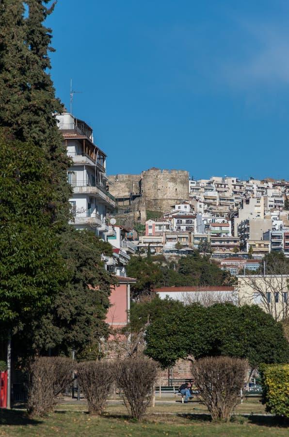 Trigonioutoren, een deel van het vestingwerk van Thessaloniki, Gree royalty-vrije stock foto's