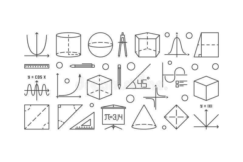 Trigonometri och matematiköversiktsillustration royaltyfri illustrationer