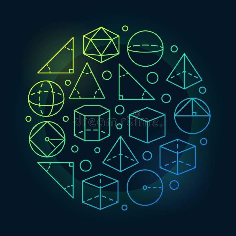 Trigonometria ed illustrazione variopinta della geometria illustrazione di stock