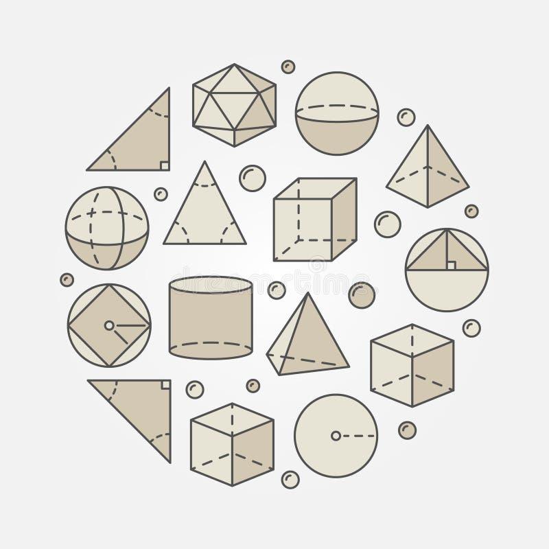 Trigonometria variopinta ed illustrazione della geometria illustrazione vettoriale