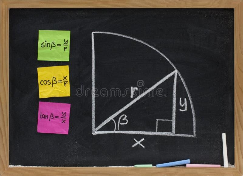 Trigonometrische functiesdefinitie op bord stock foto