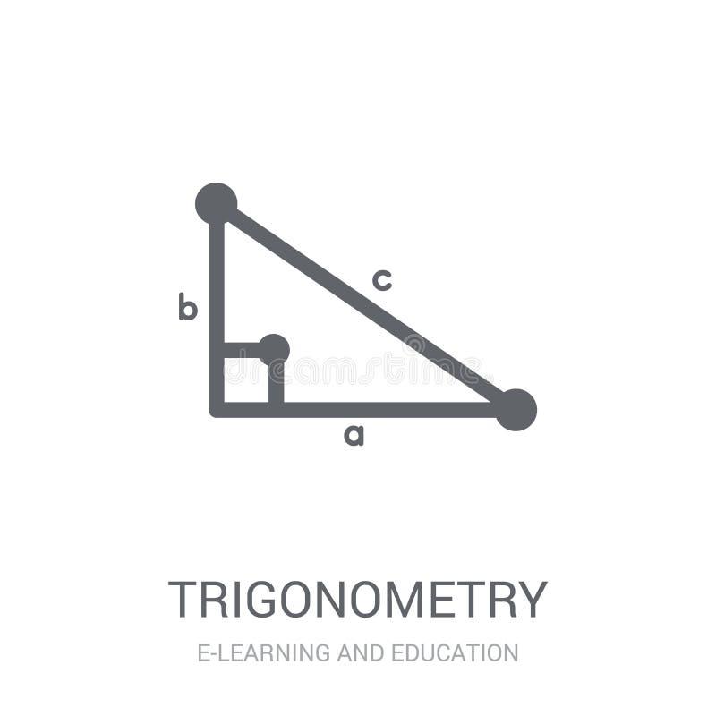 Trigonometrisymbol Moderiktigt trigonometrilogobegrepp på vit bac royaltyfri illustrationer