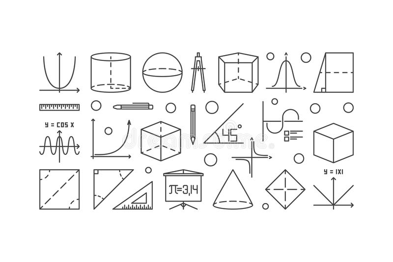 Trigonometry and mathematics outline illustration royalty free illustration