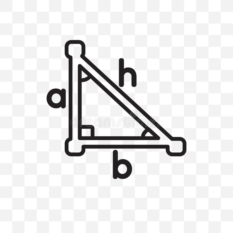 Trigonometry vector linear icon isolated on transparent background, Trigonometry transparency concept can be used for web and mobi stock illustration