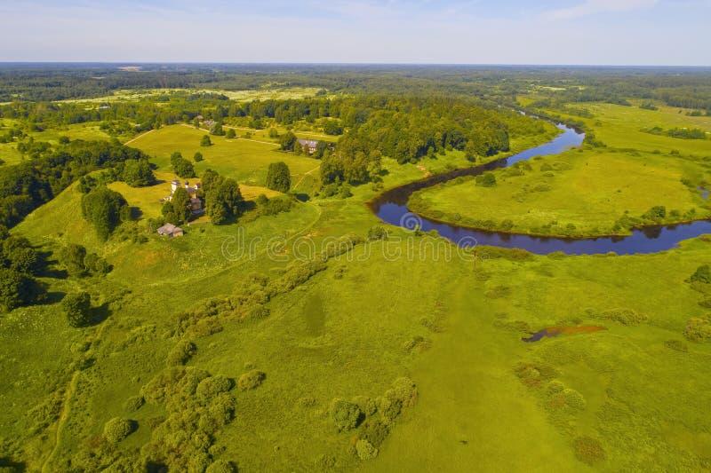 Trigorskoe luchtfotografie De Bergen van Pushkin royalty-vrije stock afbeelding