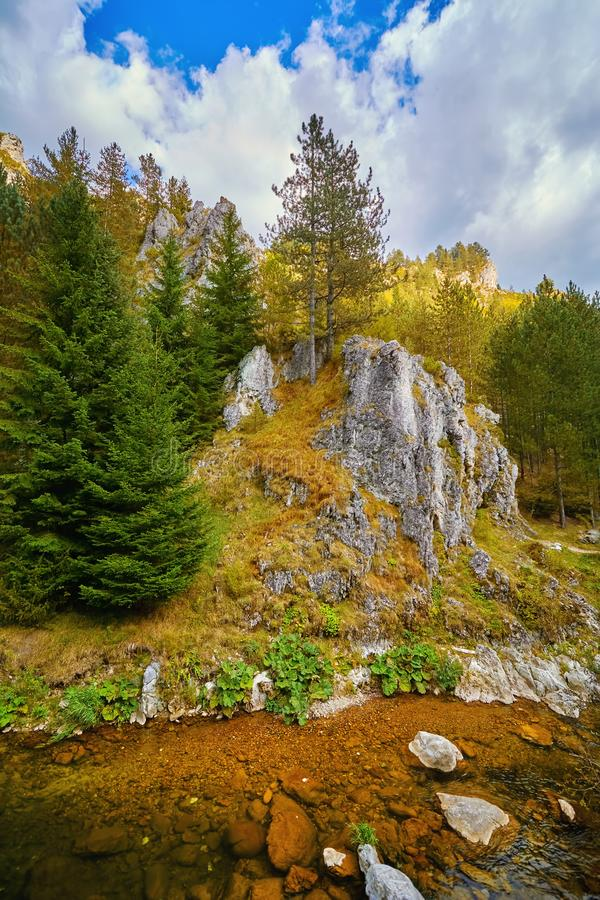 Rhodope Mountains in Bulgaria. Trigrad Gorge, Rhodope Mountains in Southern Bulgaria, Southeastern Europe royalty free stock images