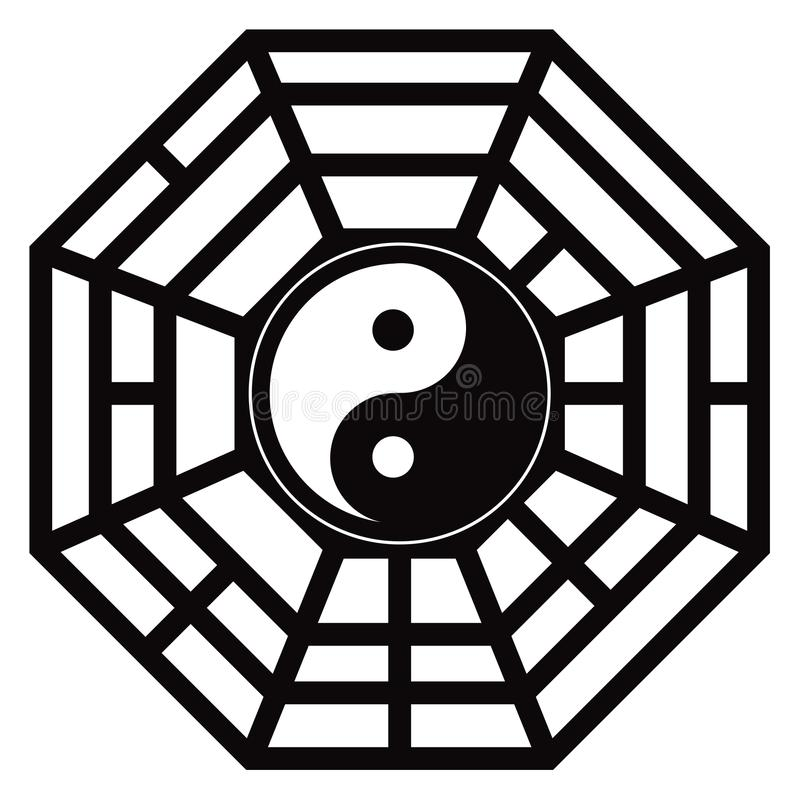 Trigrams Yin Yang Black de Bagua et illustration blanche de vecteur illustration de vecteur