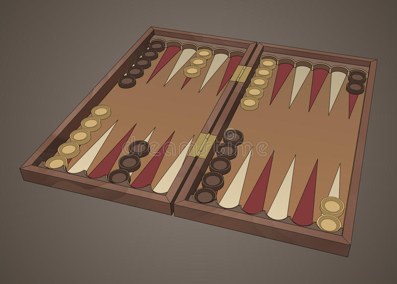 Trik-traka tavli drewniana gra planszowa royalty ilustracja
