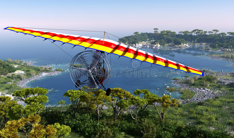 The Trike. Trike flying over the lagoon vector illustration