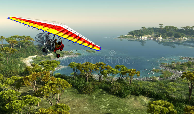 The Trike. Trike flying over the lagoon stock illustration