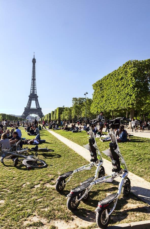 Trikke Vehicles in Paris stock image