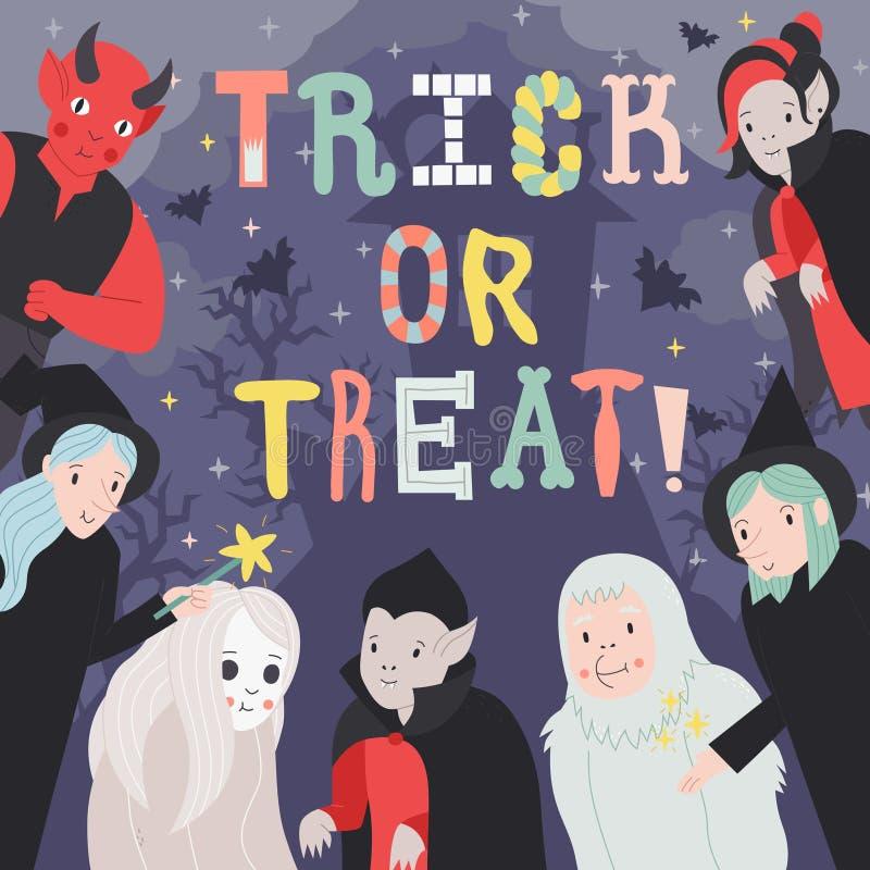 Trikowa lub funda Halloweenowa ilustracja z potworami część dwa ilustracji