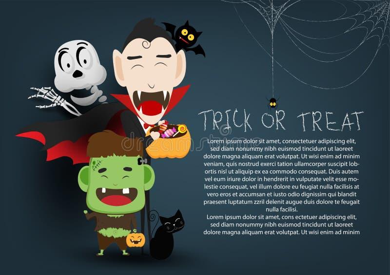 Trikowa lub funda szczęśliwa Halloween przyjęcia dekoraci tła ilustracja zaproszenie karta dla wakacji z pajęczyną i pająka carto ilustracji