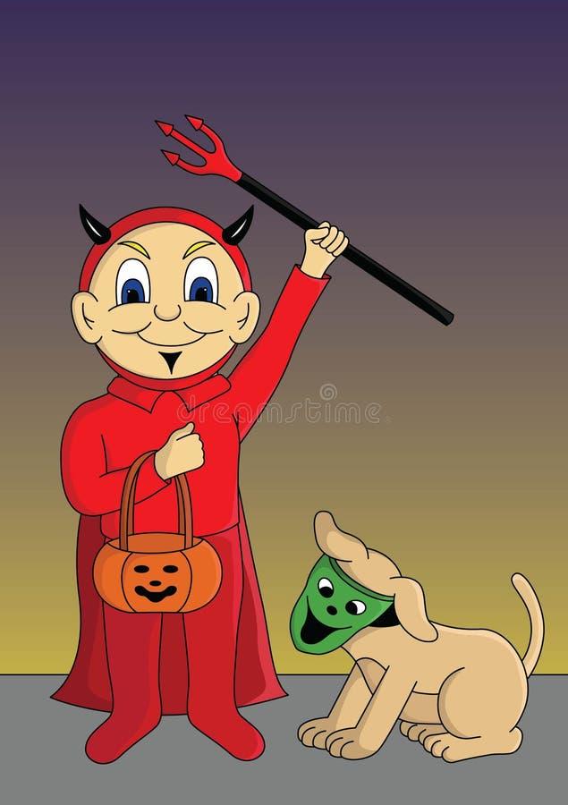 Trikowy, funda, mała chłopiec lub jego pies dla Halloween wektoru ilustracji, ilustracja wektor