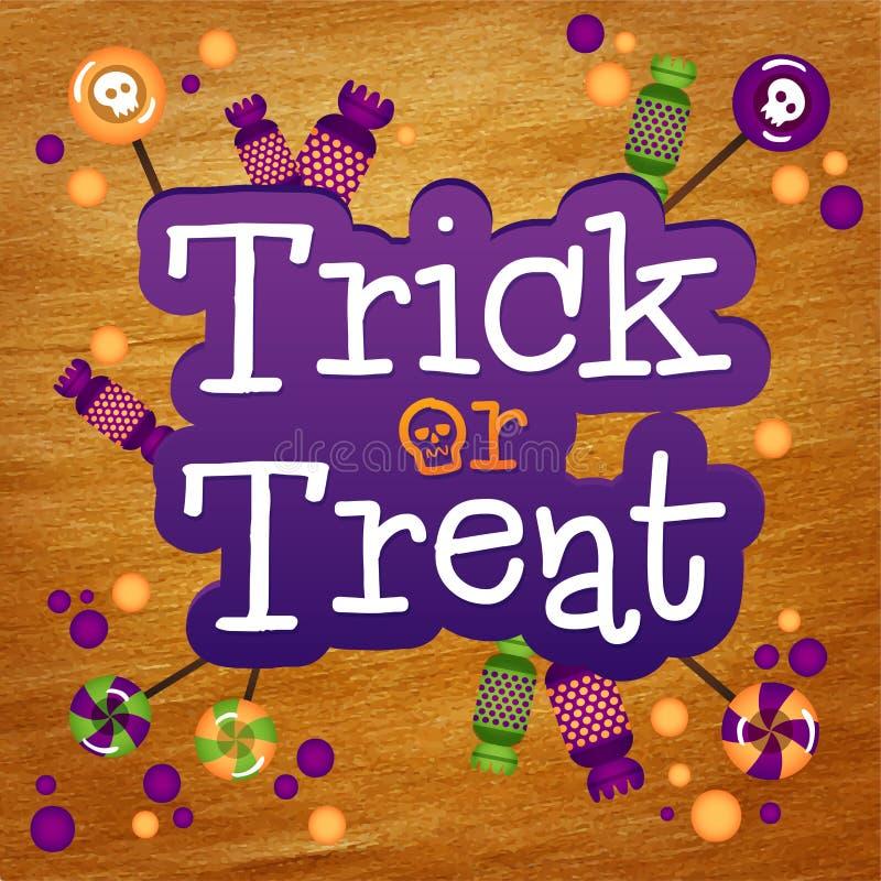 Trikowy lub funda Szczęśliwy Halloweenowy kartka z pozdrowieniami złoto ilustracji