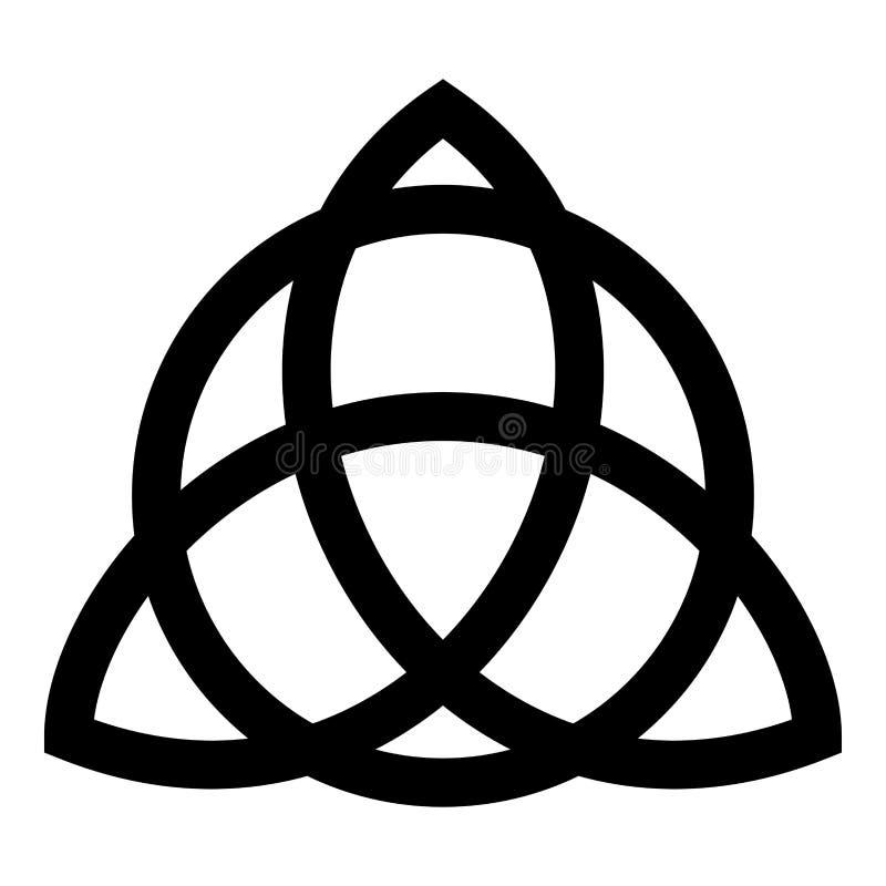 Trikvetr kępka z okrąg władzą trzy Viking symbol plemienny dla tatuaż trójcy kępki ikony czerni koloru wektorowego ilustracyjnego royalty ilustracja