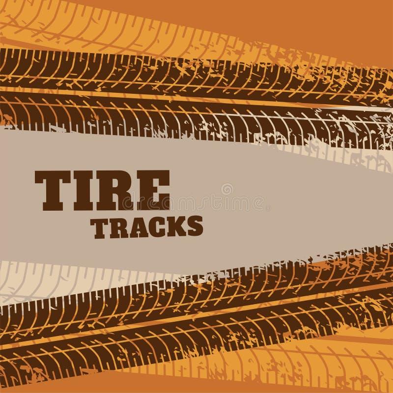 A trilha abstrata do pneu marca o fundo ilustração royalty free
