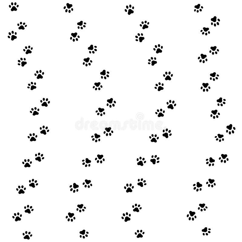 Trilha da pata do gato Teste padrão animal sem emenda da pegada da pata Vetor ilustração stock