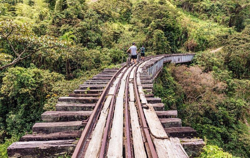 Trilha de estrada de ferro velha perto de Medellin, Colômbia foto de stock royalty free