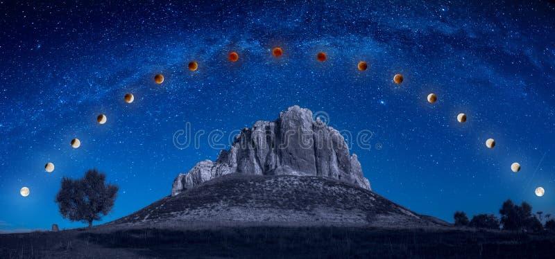 Trilha do eclipse da lua da ascendência pura acima da montanha imagem de stock royalty free
