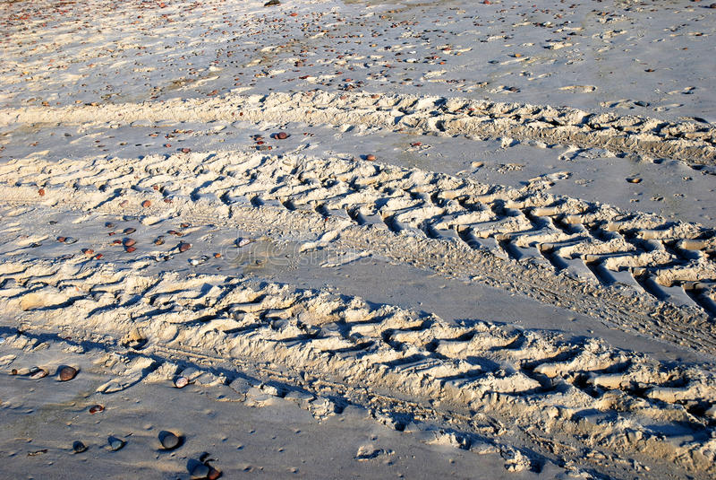 Trilha do pneu da praia imagens de stock
