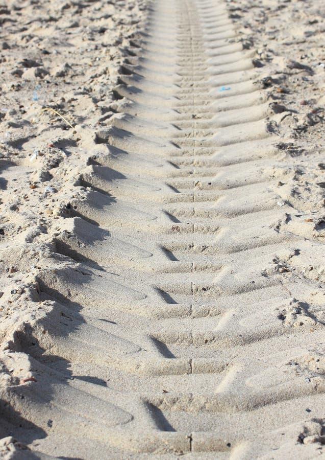 Trilha pesada do trator na areia seca da praia no verão imagem de stock