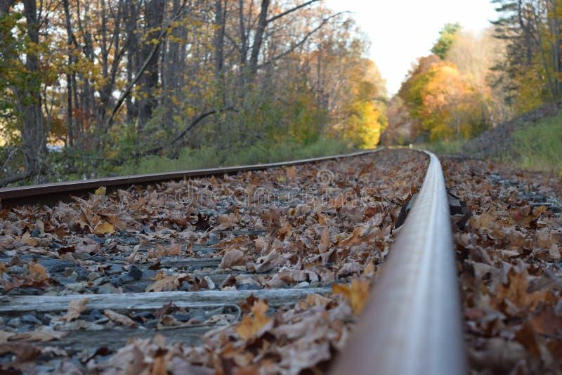 Trilha railway abandonada na queda fotografia de stock