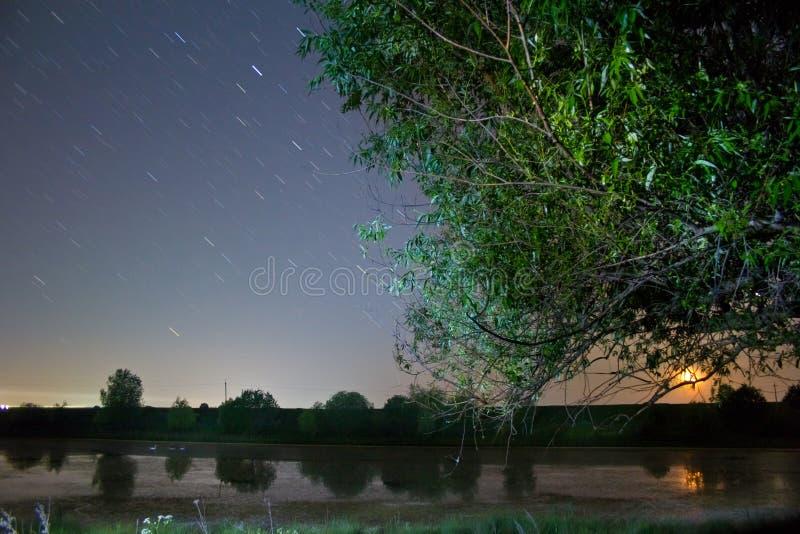 Trilhas da estrela no céu noturno azul profundo claro, na paisagem bonita do campo com um lago pequeno, no salgueiro e na lua de  fotos de stock royalty free