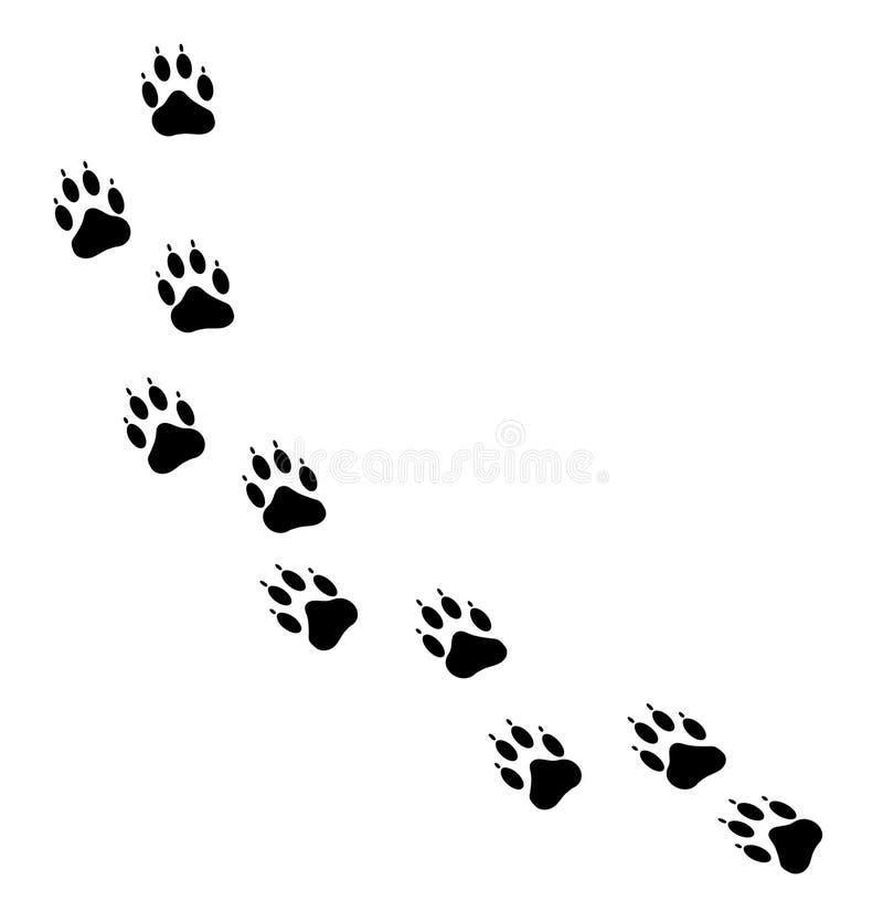 Trilhas da pata do cão ilustração stock