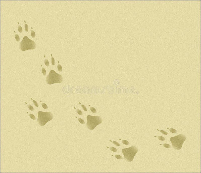 Trilhas da pata na areia ilustração royalty free