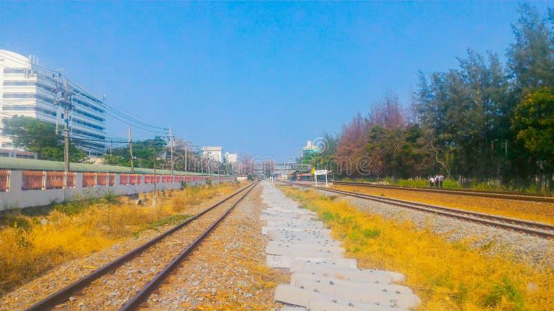 Trilhas de estrada de ferro, Banguecoque, Tailândia foto de stock
