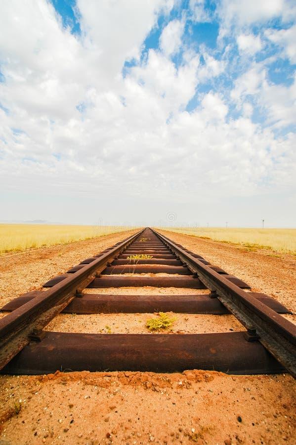 Trilhas de estrada de ferro que conduzem a em nenhuma parte fotografia de stock royalty free