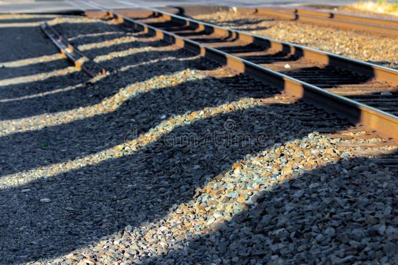 Trilhas de estrada de ferro na luz do amanhecer imagem de stock royalty free